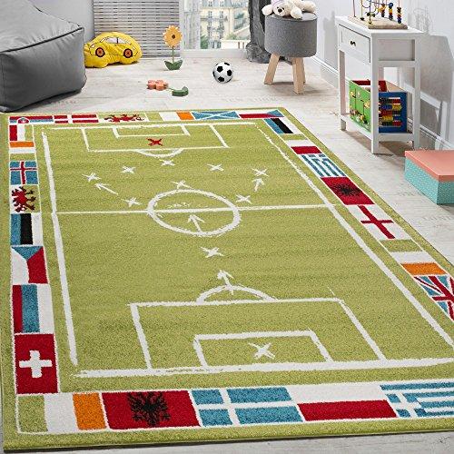 Kinderteppich Fußball Bunte Fahnen