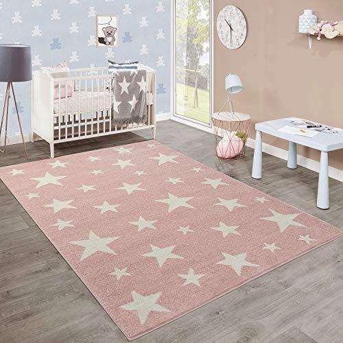 Kinderteppich Sternendesign, rosa