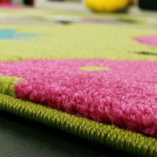 Kinderteppich Schmetterling (grün, creme, rot, pink) - 2