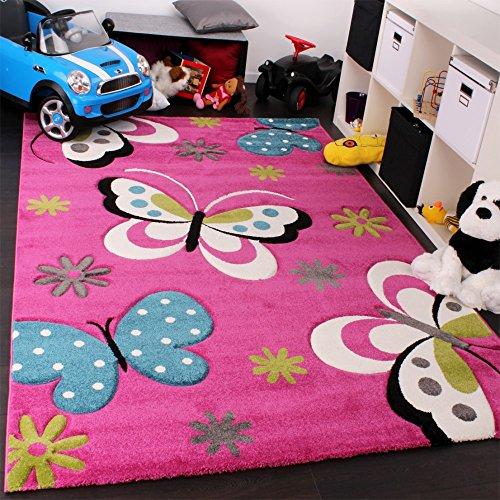 Kinderteppich Schmetterling (grün, grau, schwarz, creme, pink)