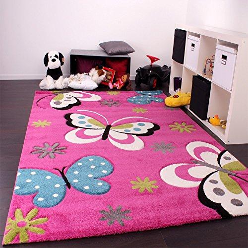 Kinderteppich Schmetterling (grün, grau, schwarz, creme, pink) - 2