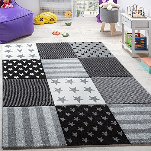 Kinderteppich Sterne (schwarz-weiß)