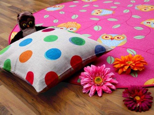 Kinderteppich Eule - rund (rosa)