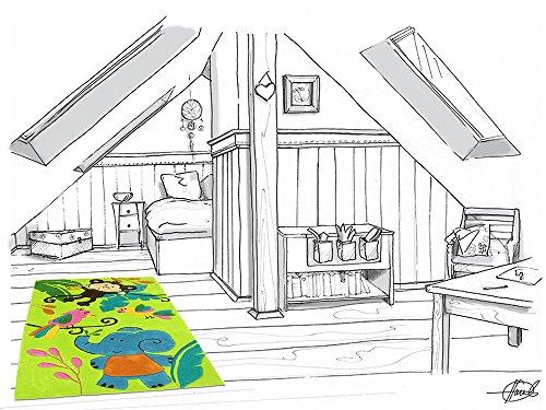Bernadette Handtuft HEVO® Kinderteppich | Spielteppich limette 150x220 cm Öko Tex 100 - 8