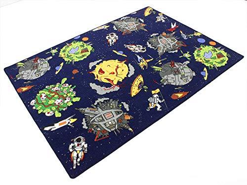 Space blau Weltraum HEVO® Teppich | Spielteppich | Kinderteppich 145x200 cm Oeko-Tex 100