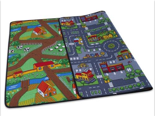 Duo Play Straßenteppich Beidseitig mit zwei Straßenlandschaften 135x200 cm