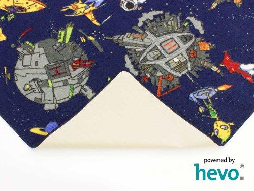 Space blau Weltraum HEVO® Teppich | Spielteppich | Kinderteppich 200 cm Ø Rund Oeko-Tex 100 - 7