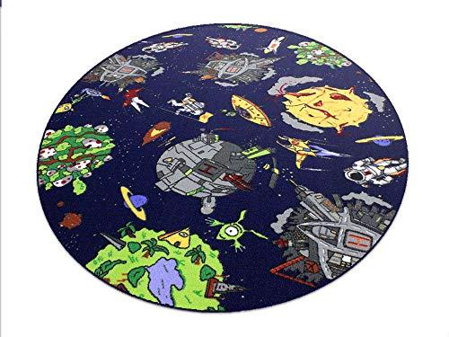 Space blau Weltraum HEVO® Teppich | Spielteppich | Kinderteppich 160 cm Ø Rund Oeko-Tex 100