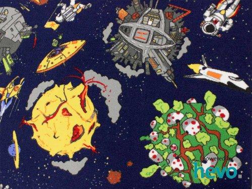 Space blau Weltraum HEVO® Teppich | Spielteppich | Kinderteppich 160 cm Ø Rund Oeko-Tex 100 - 8
