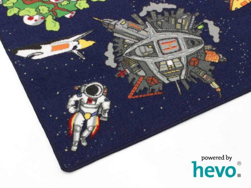 Space blau Weltraum HEVO® Teppich | Spielteppich | Kinderteppich 160 cm Ø Rund Oeko-Tex 100 - 6