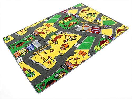 HEVO Baustelle gelb Teppich | Spielteppich | Kinderteppich 200x200 cm Oeko-Tex 100