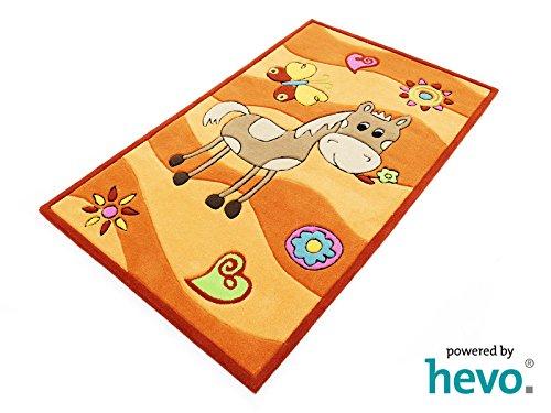 Penny das Pony orange HEVO® Handtuft Teppich | Kinderteppich | Spielteppich 90x150 cm Öko Tex 100