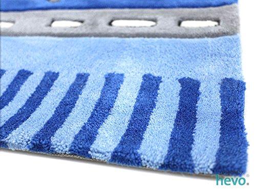 Funny Bus blau HEVO® Handtuft Teppich | Kinderteppich | Spielteppich 160x230 cm Öko Tex 100 - 5