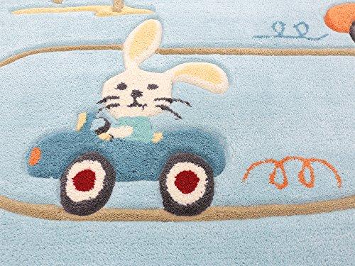 Animal City blau HEVO® Handtuft Teppich | Kinderteppich | Spielteppich 150x220 cm Textiles Vertrauen Oeko Tex 100 - 2