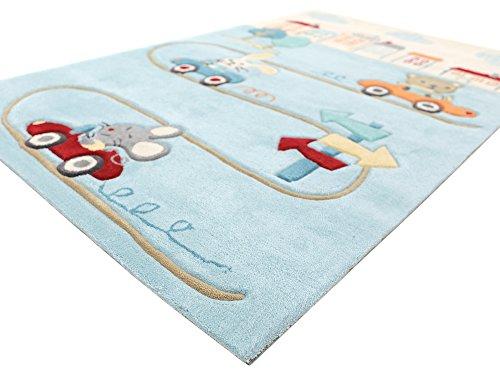 Animal City blau HEVO® Handtuft Teppich | Kinderteppich | Spielteppich 150x220 cm Textiles Vertrauen Oeko Tex 100 - 7