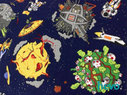 Space blau Weltraum HEVO® Teppich | Spielteppich | Kinderteppich 200x200 cm Oeko-Tex 100 - 3