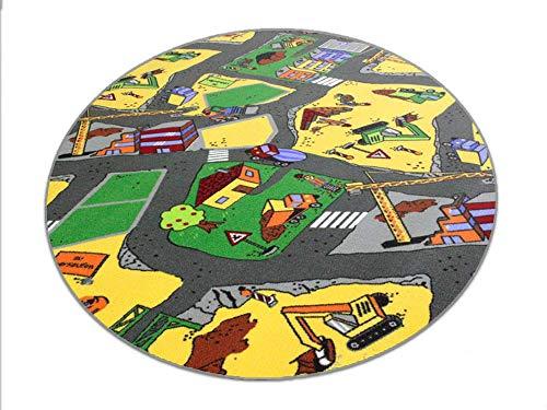 HEVO Baustelle gelb Teppich | Spielteppich | Kinderteppich 160 cm Ø Rund Oeko-Tex 100