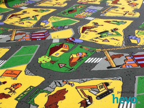 HEVO Baustelle gelb Teppich | Spielteppich | Kinderteppich 160 cm Ø Rund Oeko-Tex 100 - 2