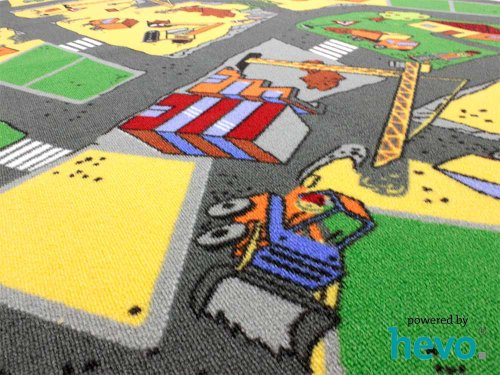 HEVO Baustelle gelb Teppich | Spielteppich | Kinderteppich 160 cm Ø Rund Oeko-Tex 100 - 5