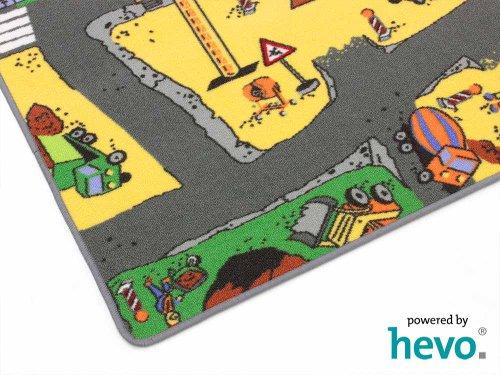 HEVO Baustelle gelb Teppich | Spielteppich | Kinderteppich 160 cm Ø Rund Oeko-Tex 100 - 6