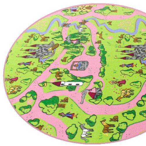 Märchenland HEVO® Mädchen Teppich | Spielteppich | Kinderteppich 200 cm Ø Rund Oeko-Tex 100