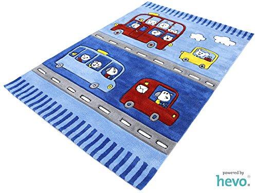 Funny Bus blau HEVO® Handtuft Teppich | Kinderteppich | Spielteppich 110x170 cm Öko Tex 100