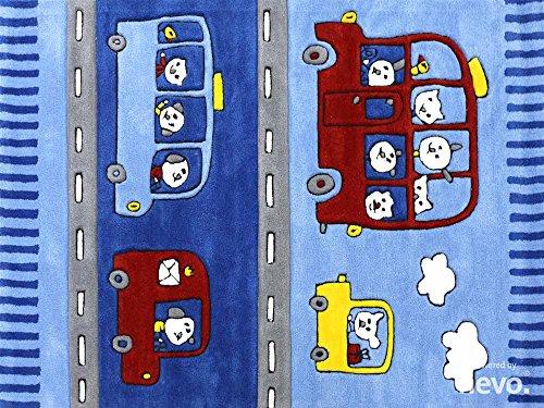 Funny Bus blau HEVO® Handtuft Teppich | Kinderteppich | Spielteppich 110x170 cm Öko Tex 100 - 2