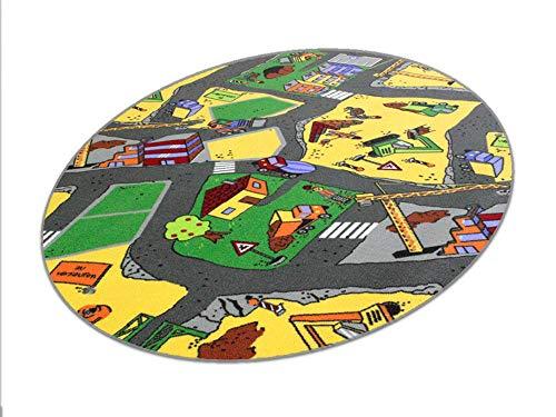 HEVO Baustelle gelb Teppich | Spielteppich | Kinderteppich 125x195 cm Ellipse Oeko-Tex 100