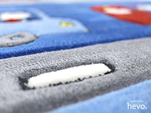 Funny Bus blau HEVO® Handtuft Teppich | Kinderteppich | Spielteppich 140x200 cm Öko Tex 100 - 3