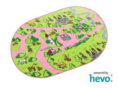 Märchenland HEVO® Mädchen Teppich | Spielteppich | Kinderteppich 200×280 cm Oval Oeko-Tex 100 - 9