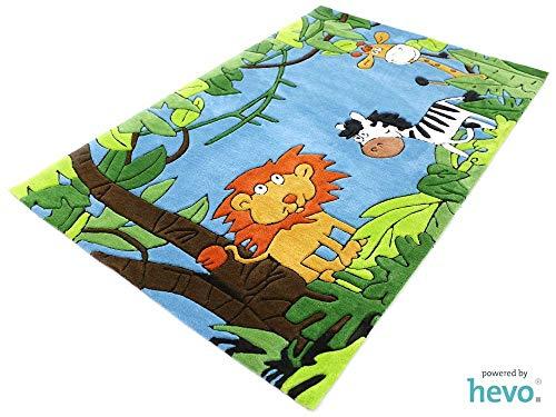 HEVO Dschungel blau Handtuft Kinderteppich | 150x220 cm | Spielteppich 3694-04