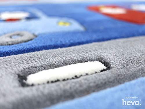 HEVO Funny Bus Blau Handtuft Kinderteppich in 140x200 cm | Spielteppich 3587-03 - 2