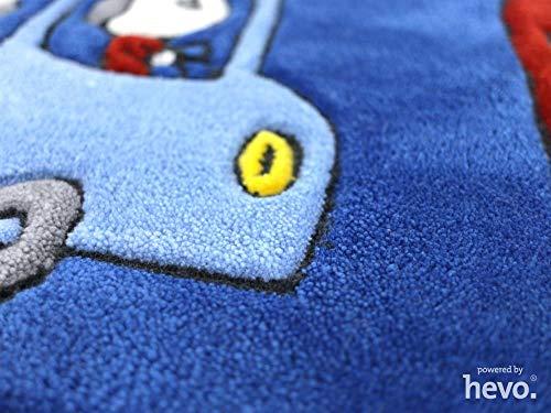 HEVO Funny Bus Blau Handtuft Kinderteppich in 140x200 cm | Spielteppich 3587-03 - 3