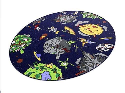 Space blau Weltraum HEVO® Teppich | Spielteppich | Kinderteppich 125x195 cm Ellipse Oeko-Tex 100