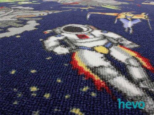 Space blau Weltraum HEVO® Teppich | Spielteppich | Kinderteppich 125×195 cm Ellipse Oeko-Tex 100 - 9