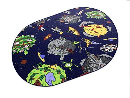 Space blau Weltraum HEVO® Teppich | Spielteppich | Kinderteppich 200x280 cm Oval Oeko-Tex 100