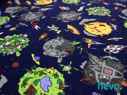 Space blau Weltraum HEVO® Teppich | Spielteppich | Kinderteppich 200x280 cm Oval Oeko-Tex 100 - 2