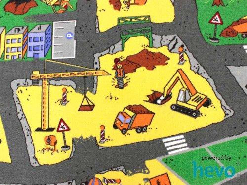 HEVO Baustelle gelb Teppich | Spielteppich | Kinderteppich 200 cm Ø Rund Oeko-Tex 100 - 3