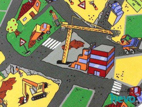 HEVO Baustelle gelb Teppich | Spielteppich | Kinderteppich 200 cm Ø Rund Oeko-Tex 100 - 4