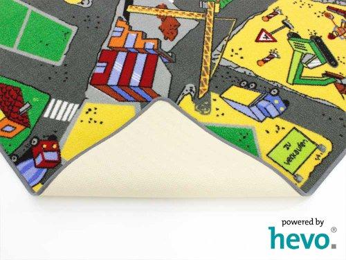HEVO Baustelle gelb Teppich | Spielteppich | Kinderteppich 200 cm Ø Rund Oeko-Tex 100 - 7
